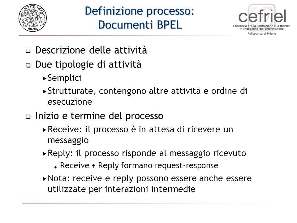 Definizione processo: Documenti BPEL Descrizione delle attività Due tipologie di attività Semplici Strutturate, contengono altre attività e ordine di