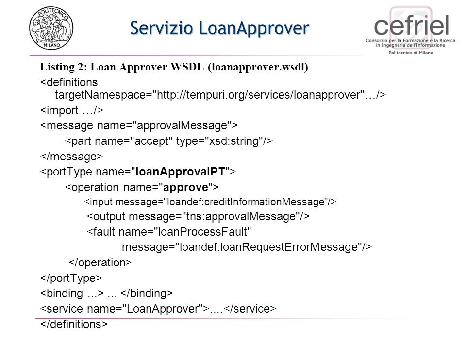 Servizio LoanApprover Listing 2: Loan Approver WSDL (loanapprover.wsdl) <fault name=