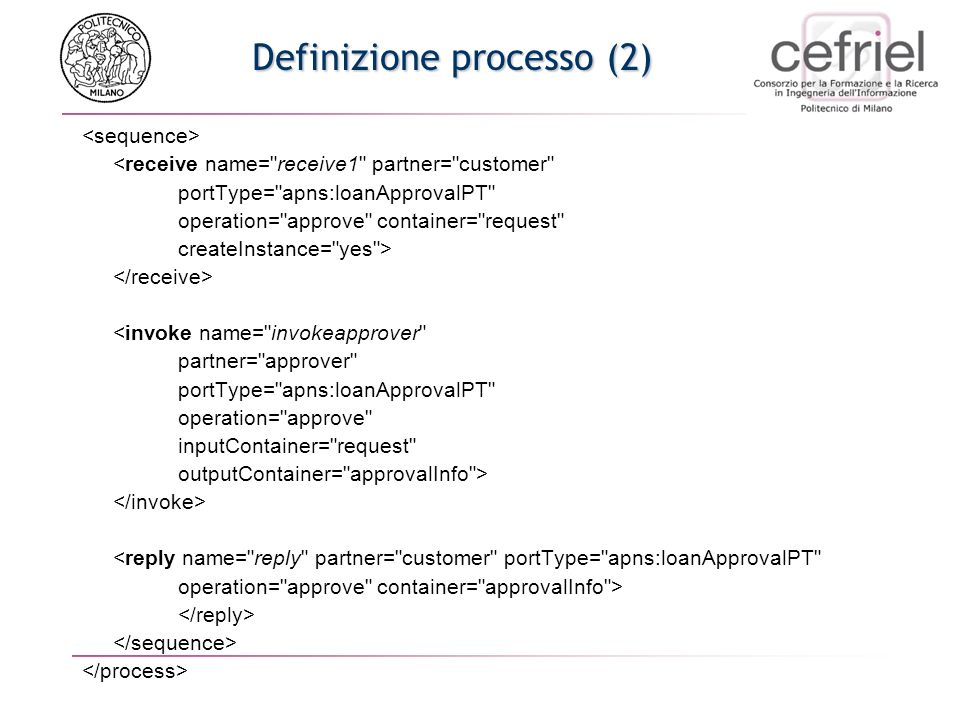 Definizione processo (2) <receive name= receive1 partner= customer portType= apns:loanApprovalPT operation= approve container= request createInstance= yes > <invoke name= invokeapprover partner= approver portType= apns:loanApprovalPT operation= approve inputContainer= request outputContainer= approvalInfo > <reply name= reply partner= customer portType= apns:loanApprovalPT operation= approve container= approvalInfo >