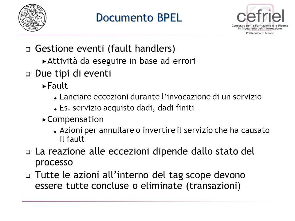 Documento BPEL Gestione eventi (fault handlers) Attività da eseguire in base ad errori Due tipi di eventi Fault Lanciare eccezioni durante linvocazione di un servizio Es.