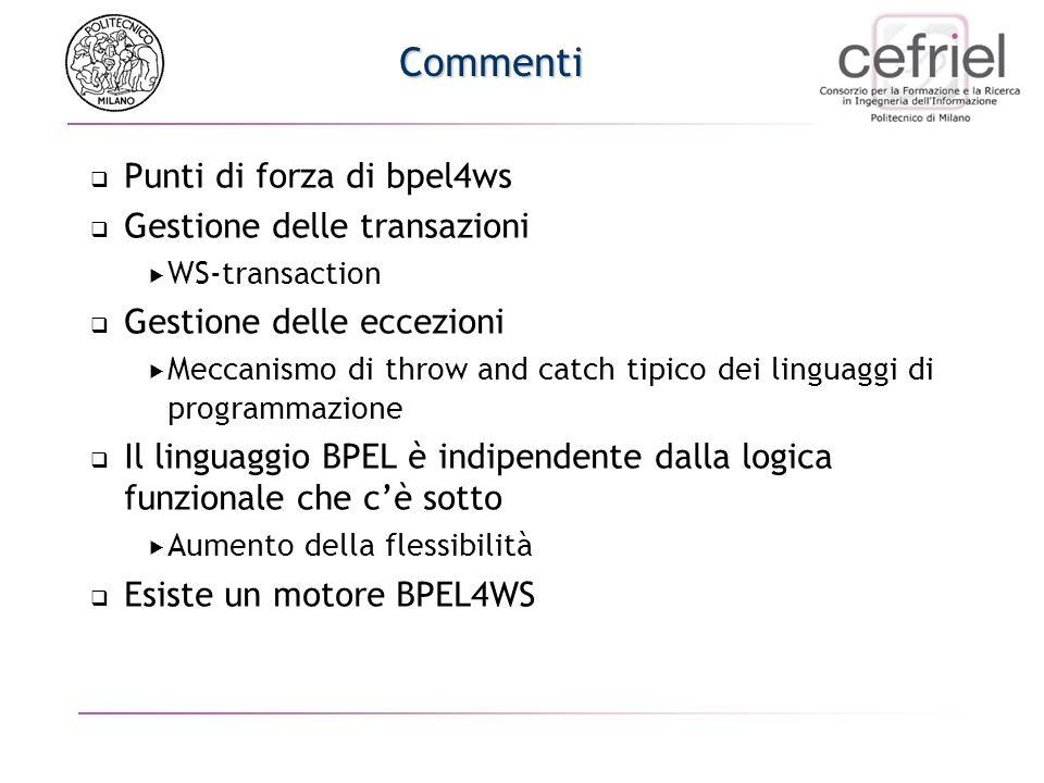 Commenti Punti di forza di bpel4ws Gestione delle transazioni WS-transaction Gestione delle eccezioni Meccanismo di throw and catch tipico dei linguag