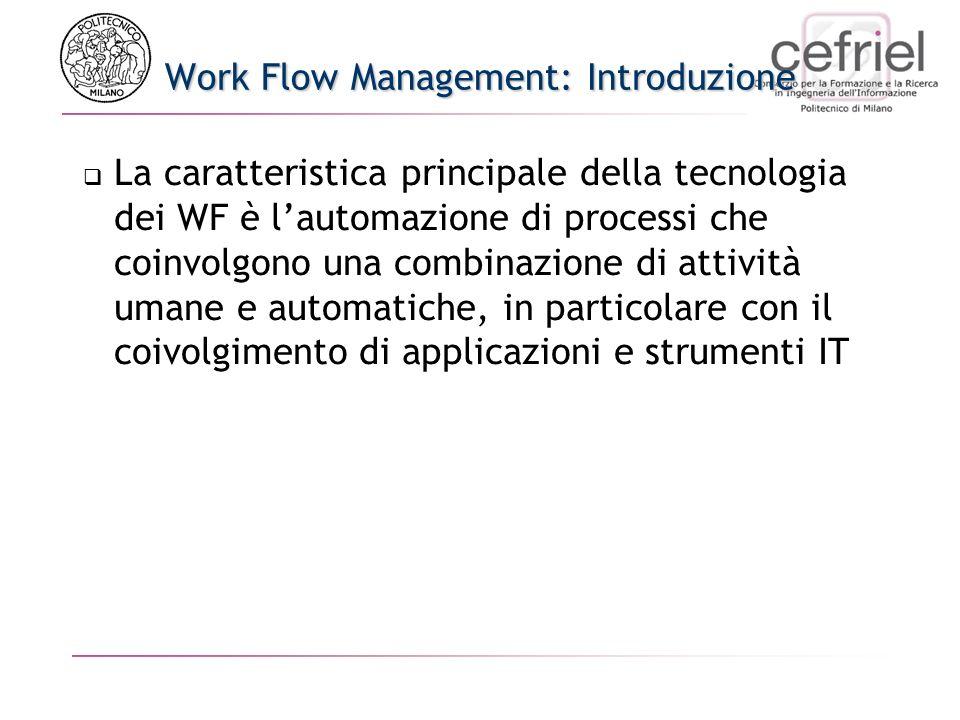 Work Flow Management: Introduzione La caratteristica principale della tecnologia dei WF è lautomazione di processi che coinvolgono una combinazione di attività umane e automatiche, in particolare con il coivolgimento di applicazioni e strumenti IT