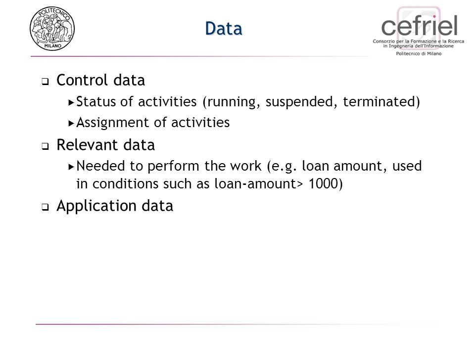 Data Control data Status of activities (running, suspended, terminated) Assignment of activities Relevant data Needed to perform the work (e.g. loan a