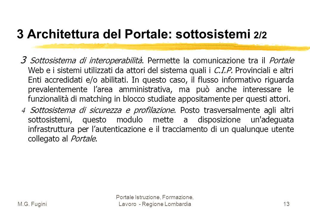 M.G. Fugini Portale Istruzione, Formazione, Lavoro - Regione Lombardia12 3 Architettura del Portale: sottosistemi 1/2 1 Sottosistema di memorizzazione