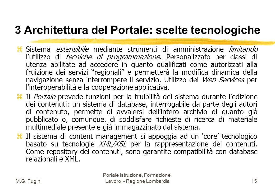 M.G. Fugini Portale Istruzione, Formazione, Lavoro - Regione Lombardia14 3 Architettura del Portale: interfacce z Con il Sistema Informativo Regionale