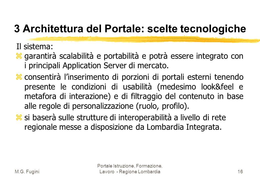 M.G. Fugini Portale Istruzione, Formazione, Lavoro - Regione Lombardia15 3 Architettura del Portale: scelte tecnologiche z Sistema estensibile mediant