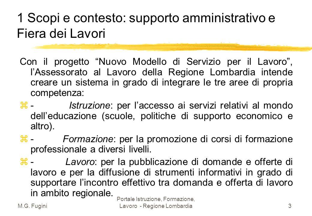 M.G. Fugini Portale Istruzione, Formazione, Lavoro - Regione Lombardia2 Moduli della lezione 1.Scopi e contesto: supporto amministrativo e Fiera dei L