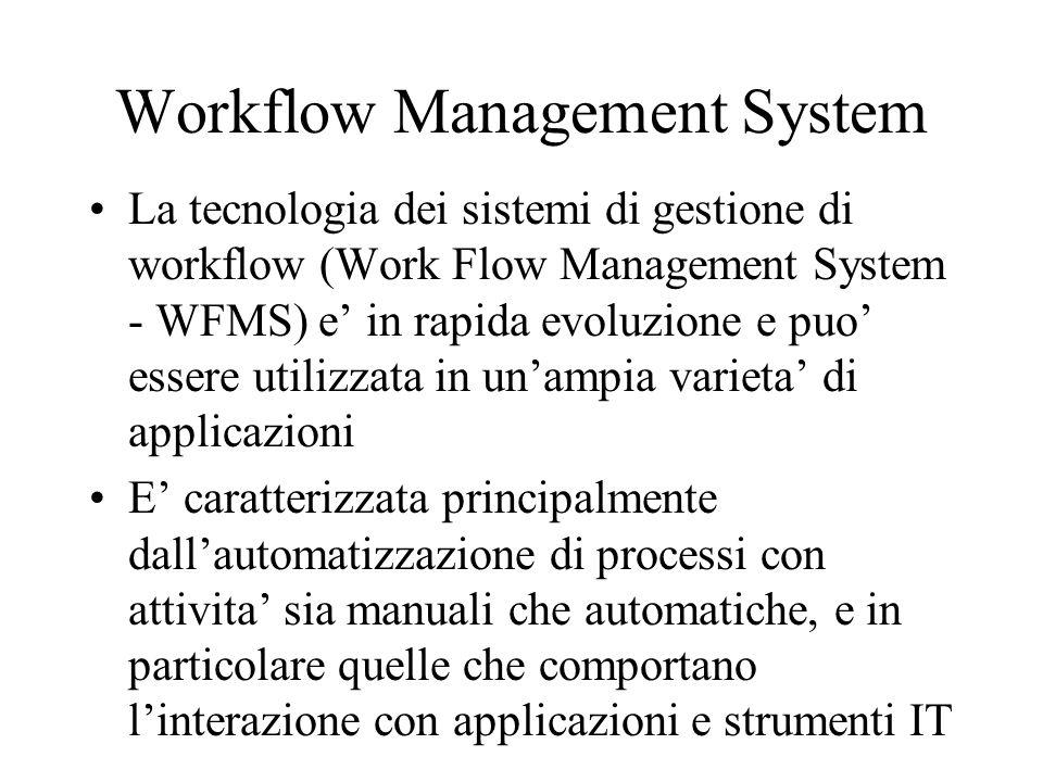 Workflow Management System La tecnologia dei sistemi di gestione di workflow (Work Flow Management System - WFMS) e in rapida evoluzione e puo essere