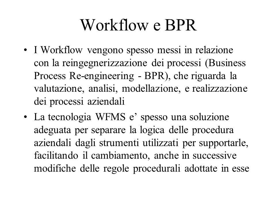 Workflow e BPR I Workflow vengono spesso messi in relazione con la reingegnerizzazione dei processi (Business Process Re-engineering - BPR), che rigua