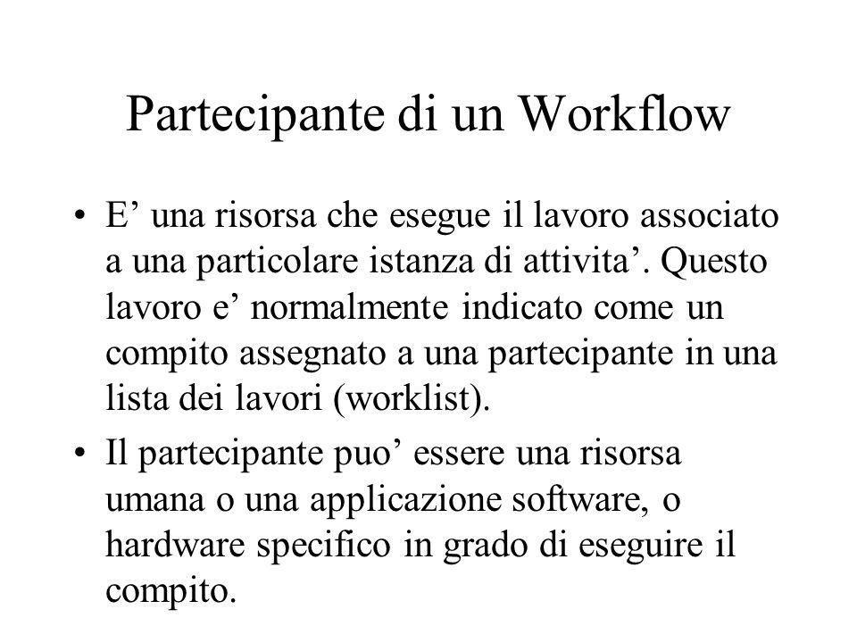 Partecipante di un Workflow E una risorsa che esegue il lavoro associato a una particolare istanza di attivita. Questo lavoro e normalmente indicato c