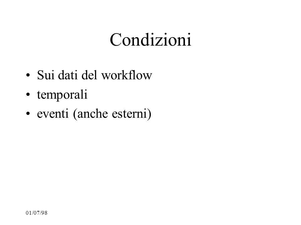 01/07/98 Condizioni Sui dati del workflow temporali eventi (anche esterni)
