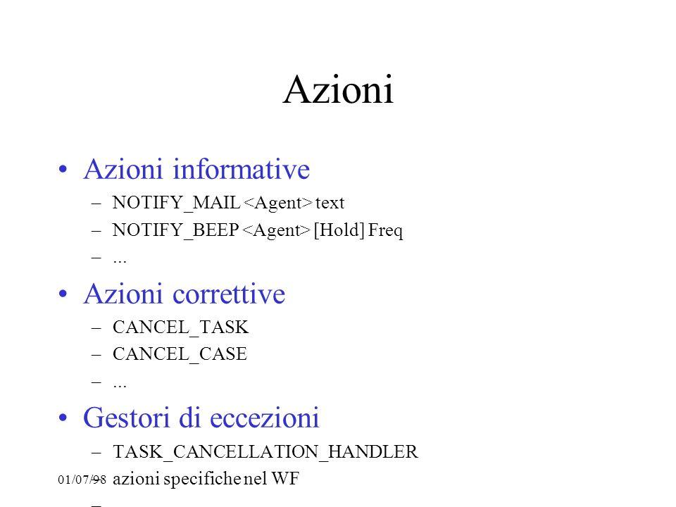 01/07/98 Azioni Azioni informative –NOTIFY_MAIL text –NOTIFY_BEEP [Hold] Freq –... Azioni correttive –CANCEL_TASK –CANCEL_CASE –... Gestori di eccezio