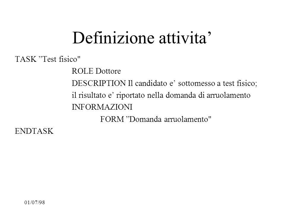 01/07/98 Definizione attivita TASK Test fisico