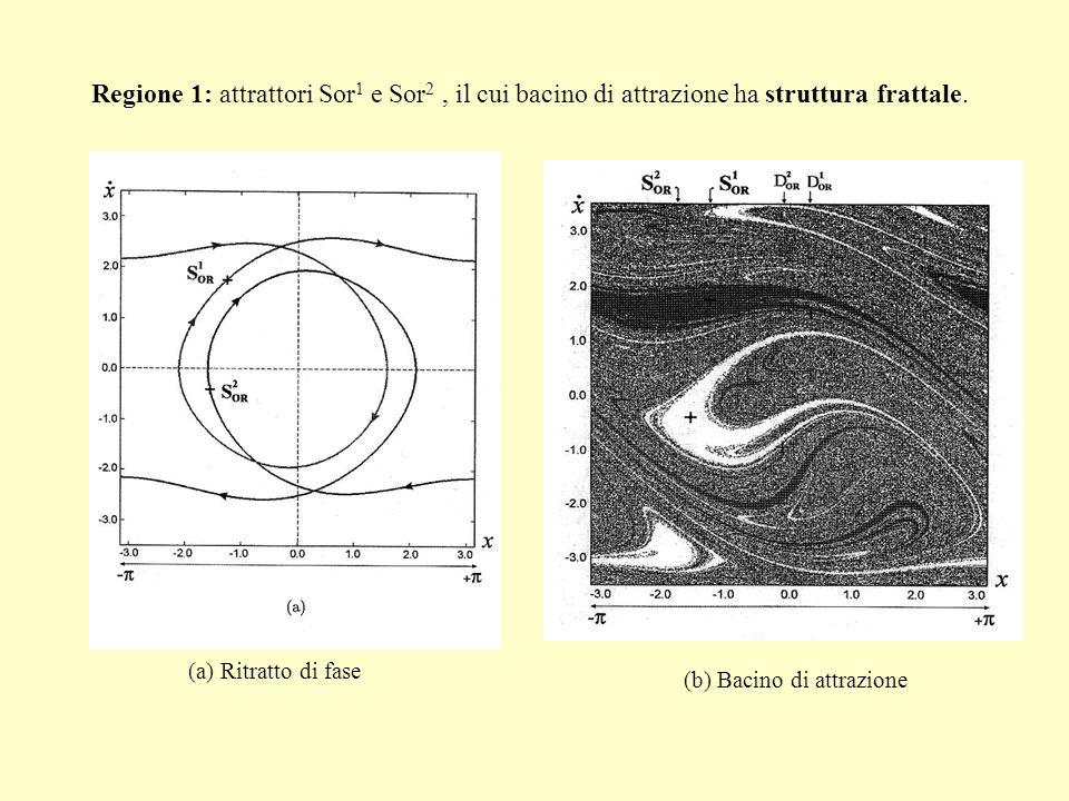Regione 1: attrattori Sor 1 e Sor 2, il cui bacino di attrazione ha struttura frattale. (b) Bacino di attrazione (a) Ritratto di fase