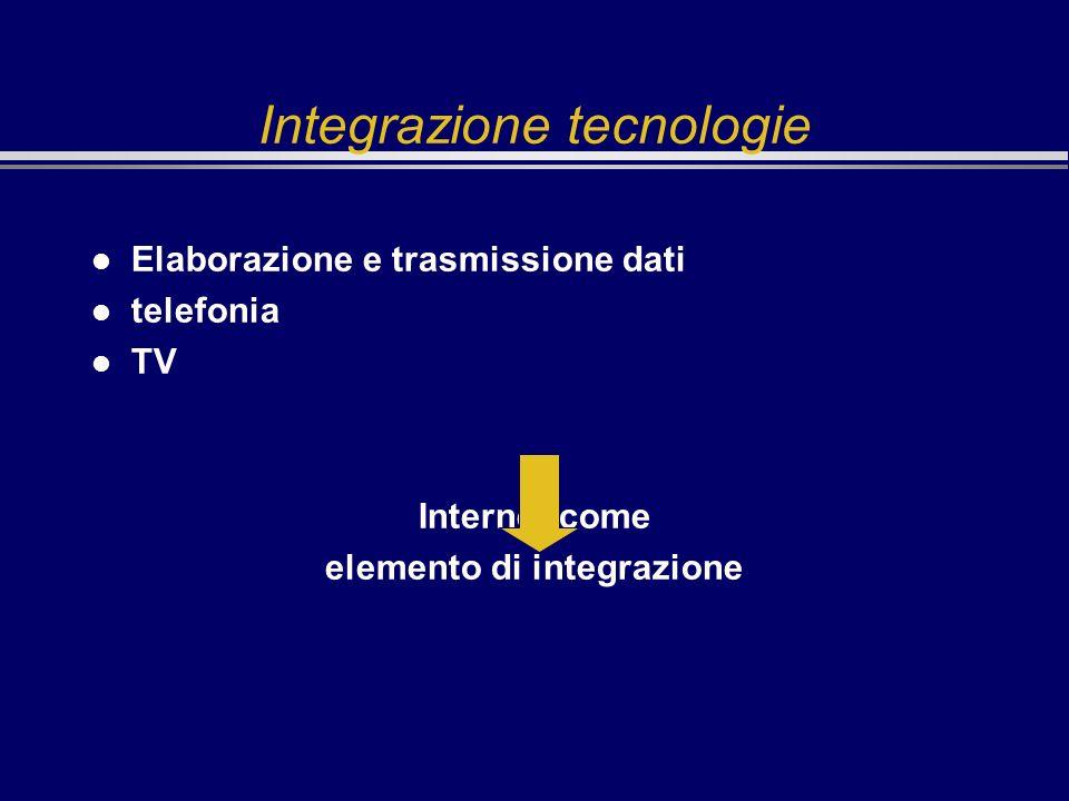 Integrazione tecnologie l Elaborazione e trasmissione dati l telefonia l TV Internet come elemento di integrazione