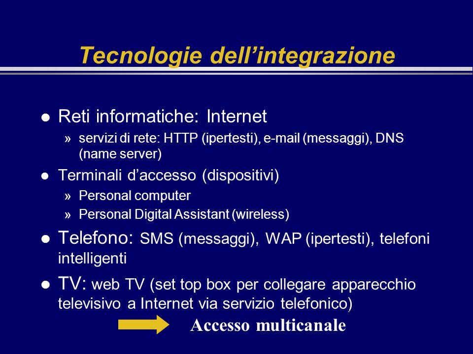 Tecnologie dellintegrazione l Reti informatiche: Internet »servizi di rete: HTTP (ipertesti), e-mail (messaggi), DNS (name server) l Terminali daccess
