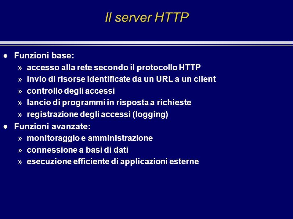 Il server HTTP l Funzioni base: »accesso alla rete secondo il protocollo HTTP »invio di risorse identificate da un URL a un client »controllo degli ac