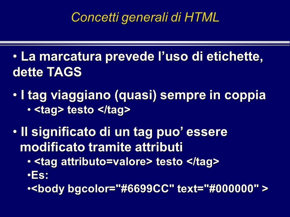 Concetti generali di HTML La marcatura prevede luso di etichette, dette TAGS La marcatura prevede luso di etichette, dette TAGS I tag viaggiano (quasi