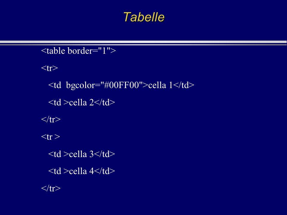 Tabelle cella 1 cella 2 cella 3 cella 4