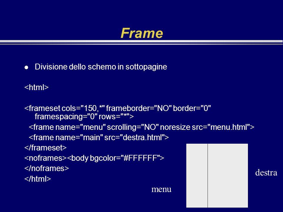 Frame l Divisione dello schemo in sottopagine menu destra