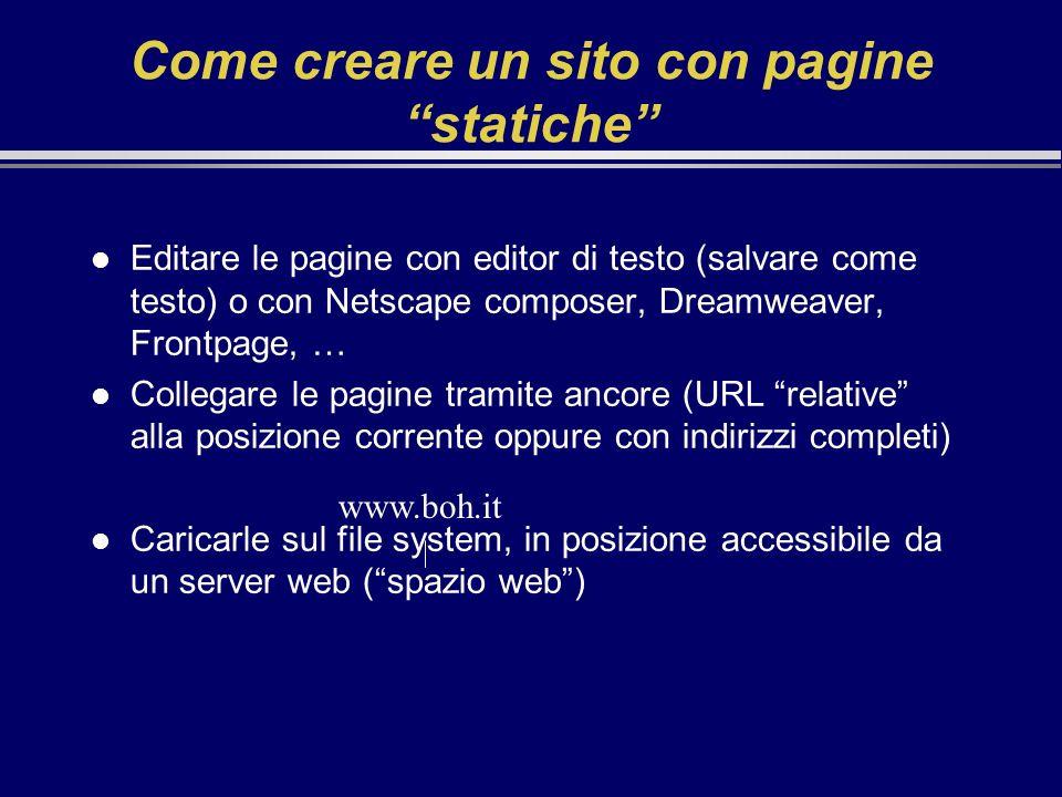 Come creare un sito con pagine statiche l Editare le pagine con editor di testo (salvare come testo) o con Netscape composer, Dreamweaver, Frontpage,