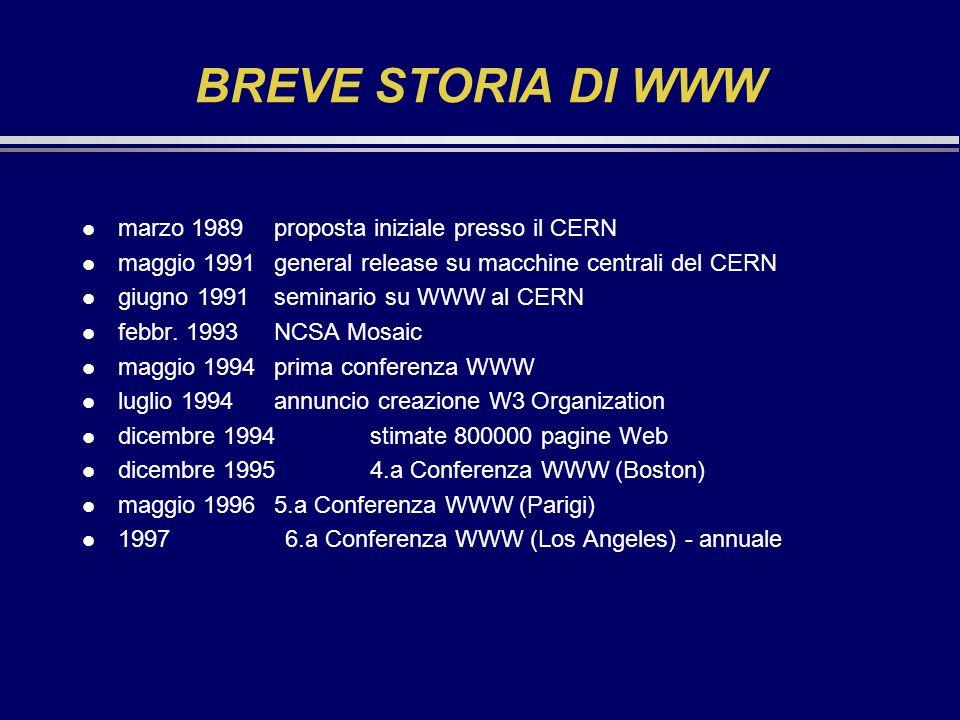 BREVE STORIA DI WWW l marzo 1989proposta iniziale presso il CERN l maggio 1991general release su macchine centrali del CERN l giugno 1991seminario su