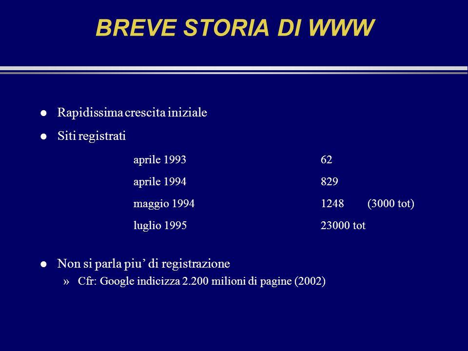 BREVE STORIA DI WWW l Rapidissima crescita iniziale l Siti registrati aprile 199362 aprile 1994829 maggio 19941248 (3000 tot) luglio 199523000 tot l N
