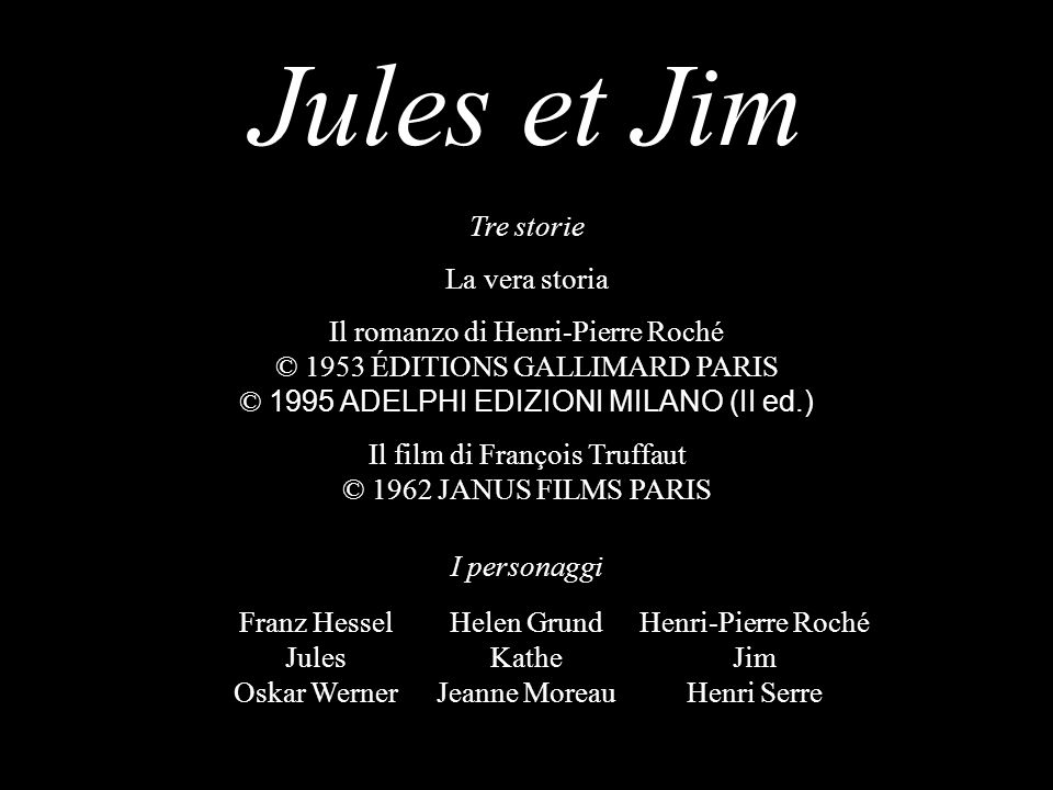 Jules et Jim Franz Hessel Jules Oskar Werner Helen Grund Kathe Jeanne Moreau Henri-Pierre Roché Jim Henri Serre Tre storie La vera storia Il romanzo d
