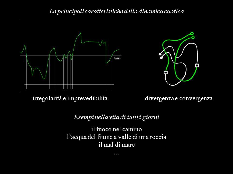 divergenza e convergenza Le principali caratteristiche della dinamica caotica irregolarità e imprevedibilità Esempi nella vita di tutti i giorni il fu