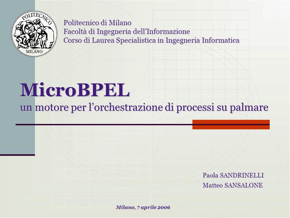 MicroBPEL un motore per lorchestrazione di processi su palmare Paola SANDRINELLI Matteo SANSALONE Politecnico di Milano Facoltà di Ingegneria dellInfo