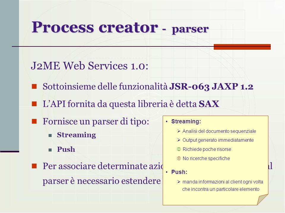 Process creator - parser Sottoinsieme delle funzionalità JSR-063 JAXP 1.2 LAPI fornita da questa libreria è detta SAX Fornisce un parser di tipo: Stre