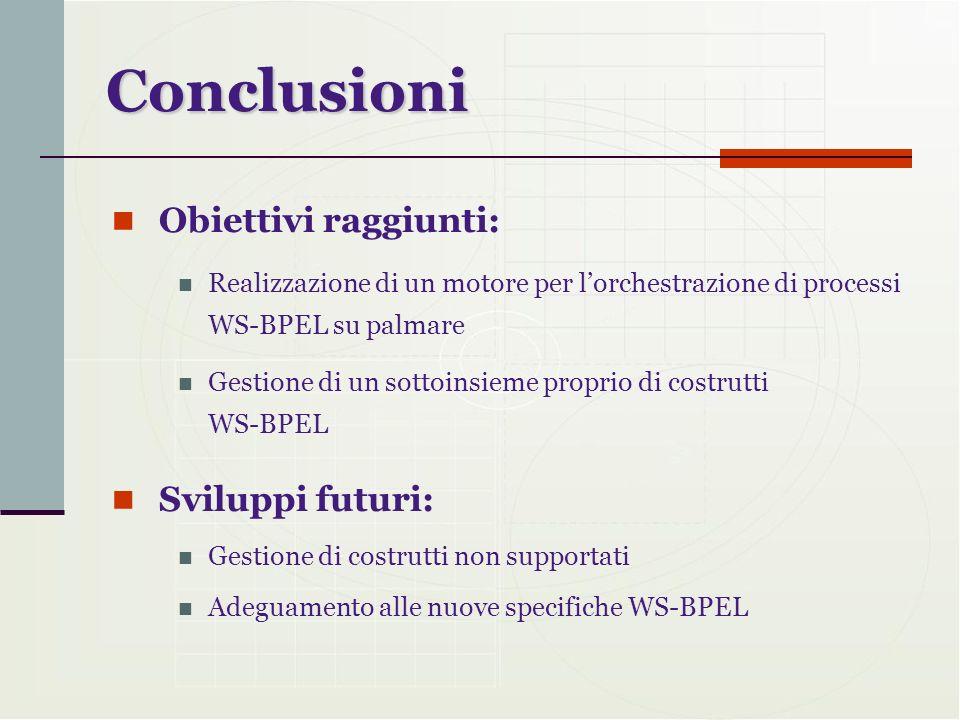 Conclusioni Obiettivi raggiunti: Realizzazione di un motore per lorchestrazione di processi WS-BPEL su palmare Gestione di un sottoinsieme proprio di