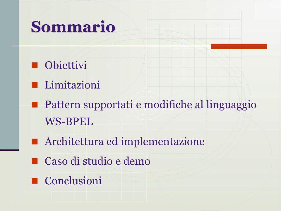Sommario Obiettivi Limitazioni Pattern supportati e modifiche al linguaggio WS-BPEL Architettura ed implementazione Caso di studio e demo Conclusioni