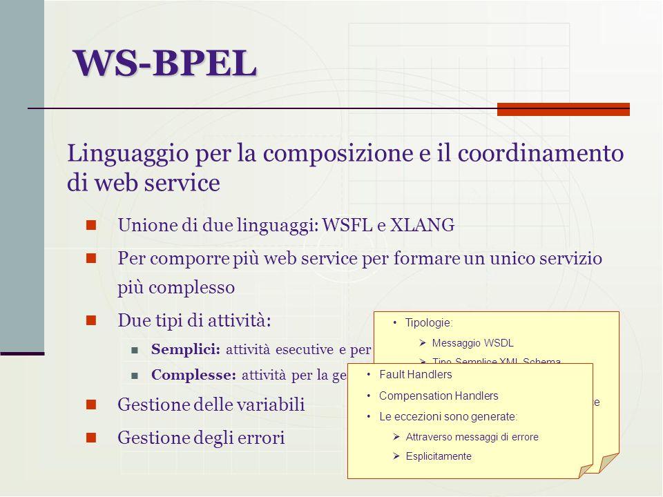 Unione di due linguaggi: WSFL e XLANG Per comporre più web service per formare un unico servizio più complesso Due tipi di attività: Semplici: attivit