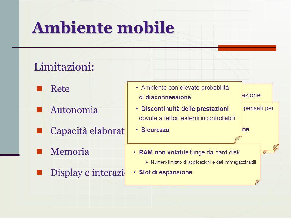 Ambiente mobile Rete Autonomia Capacità elaborativa Memoria Display e interazione con lutente Limitazioni: Velocità inferiore rispetto ai desktop Fort