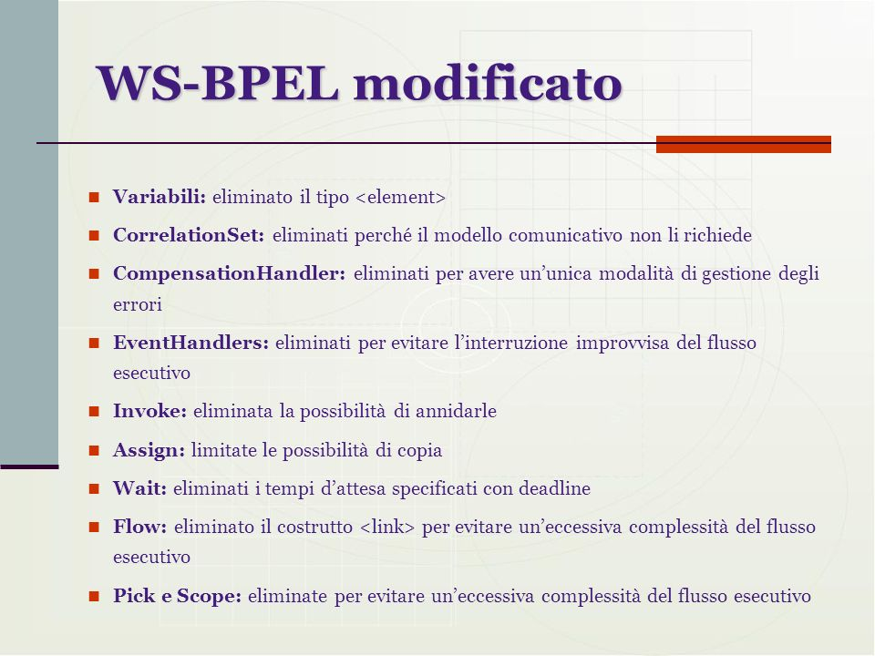 WS-BPEL modificato Variabili: eliminato il tipo <element> CorrelationSet: eliminati perché il modello comunicativo non li richiede CompensationHandler
