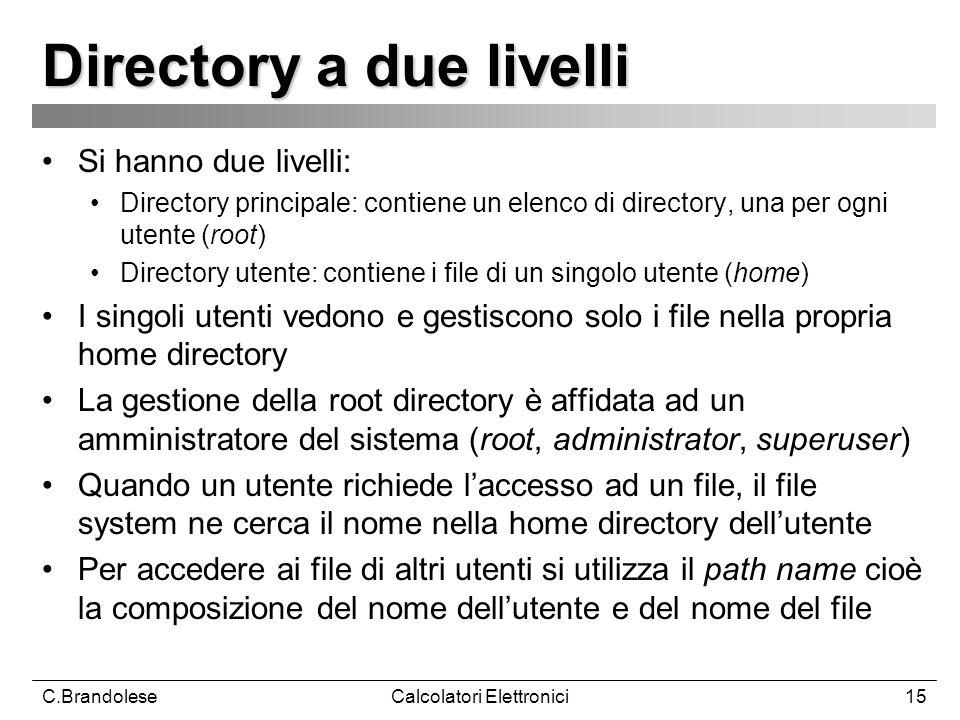 C.BrandoleseCalcolatori Elettronici15 Directory a due livelli Si hanno due livelli: Directory principale: contiene un elenco di directory, una per ogni utente (root) Directory utente: contiene i file di un singolo utente (home) I singoli utenti vedono e gestiscono solo i file nella propria home directory La gestione della root directory è affidata ad un amministratore del sistema (root, administrator, superuser) Quando un utente richiede laccesso ad un file, il file system ne cerca il nome nella home directory dellutente Per accedere ai file di altri utenti si utilizza il path name cioè la composizione del nome dellutente e del nome del file