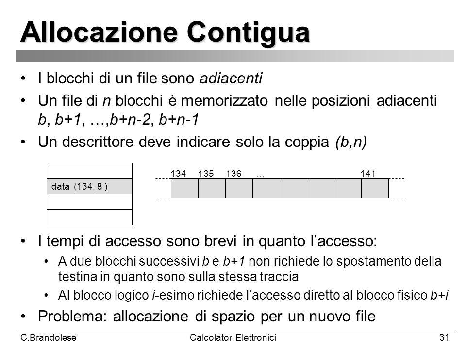 C.BrandoleseCalcolatori Elettronici31 Allocazione Contigua I blocchi di un file sono adiacenti Un file di n blocchi è memorizzato nelle posizioni adiacenti b, b+1, …,b+n-2, b+n-1 Un descrittore deve indicare solo la coppia (b,n) I tempi di accesso sono brevi in quanto laccesso: A due blocchi successivi b e b+1 non richiede lo spostamento della testina in quanto sono sulla stessa traccia Al blocco logico i-esimo richiede laccesso diretto al blocco fisico b+i Problema: allocazione di spazio per un nuovo file 134 135 136 … 141 data (134, 8 )