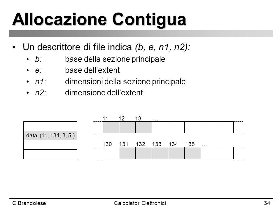 C.BrandoleseCalcolatori Elettronici34 Allocazione Contigua Un descrittore di file indica (b, e, n1, n2): b:base della sezione principale e: base dellextent n1: dimensioni della sezione principale n2: dimensione dellextent 11 12 13 … data (11, 131, 3, 5 ) 130 131 132 133 134 135 …