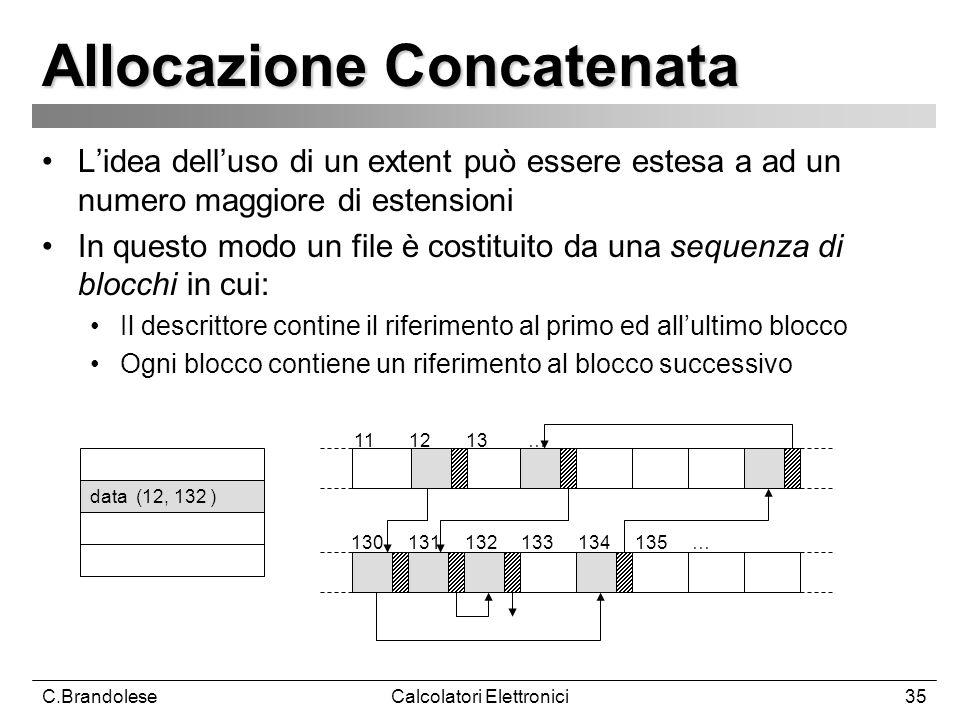 C.BrandoleseCalcolatori Elettronici35 Allocazione Concatenata Lidea delluso di un extent può essere estesa a ad un numero maggiore di estensioni In questo modo un file è costituito da una sequenza di blocchi in cui: Il descrittore contine il riferimento al primo ed allultimo blocco Ogni blocco contiene un riferimento al blocco successivo 11 12 13 … data (12, 132 ) 130 131 132 133 134 135 …