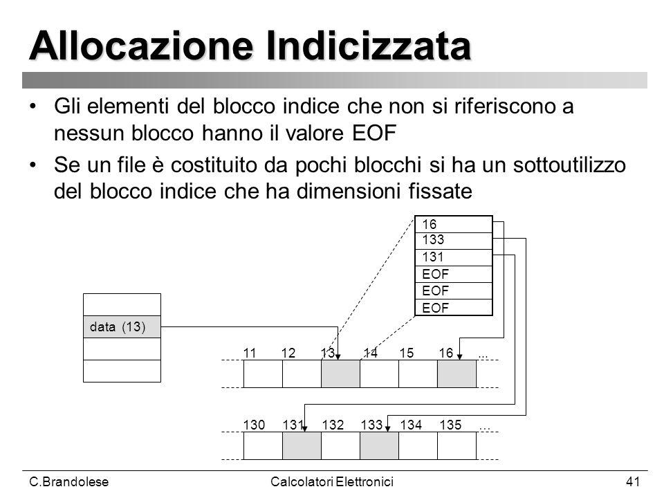 C.BrandoleseCalcolatori Elettronici41 Allocazione Indicizzata Gli elementi del blocco indice che non si riferiscono a nessun blocco hanno il valore EOF Se un file è costituito da pochi blocchi si ha un sottoutilizzo del blocco indice che ha dimensioni fissate 11 12 13 14 15 16...