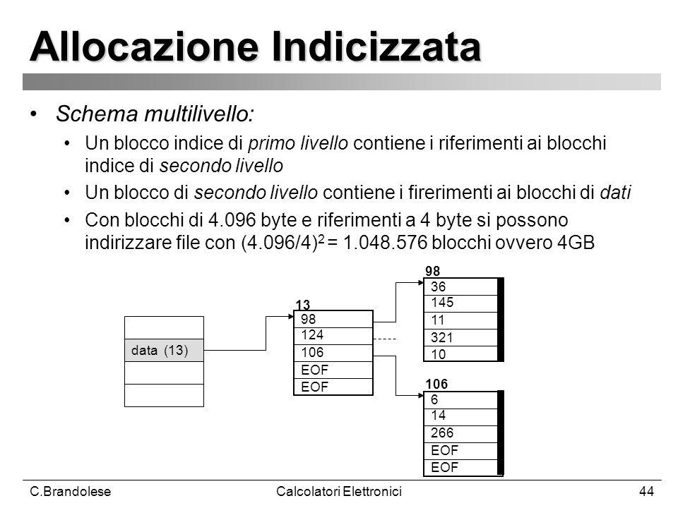 C.BrandoleseCalcolatori Elettronici44 Allocazione Indicizzata Schema multilivello: Un blocco indice di primo livello contiene i riferimenti ai blocchi indice di secondo livello Un blocco di secondo livello contiene i firerimenti ai blocchi di dati Con blocchi di 4.096 byte e riferimenti a 4 byte si possono indirizzare file con (4.096/4) 2 = 1.048.576 blocchi ovvero 4GB data (13) 98 124 106 EOF 36 145 11 321 10 6 14 266 EOF 13 98 106