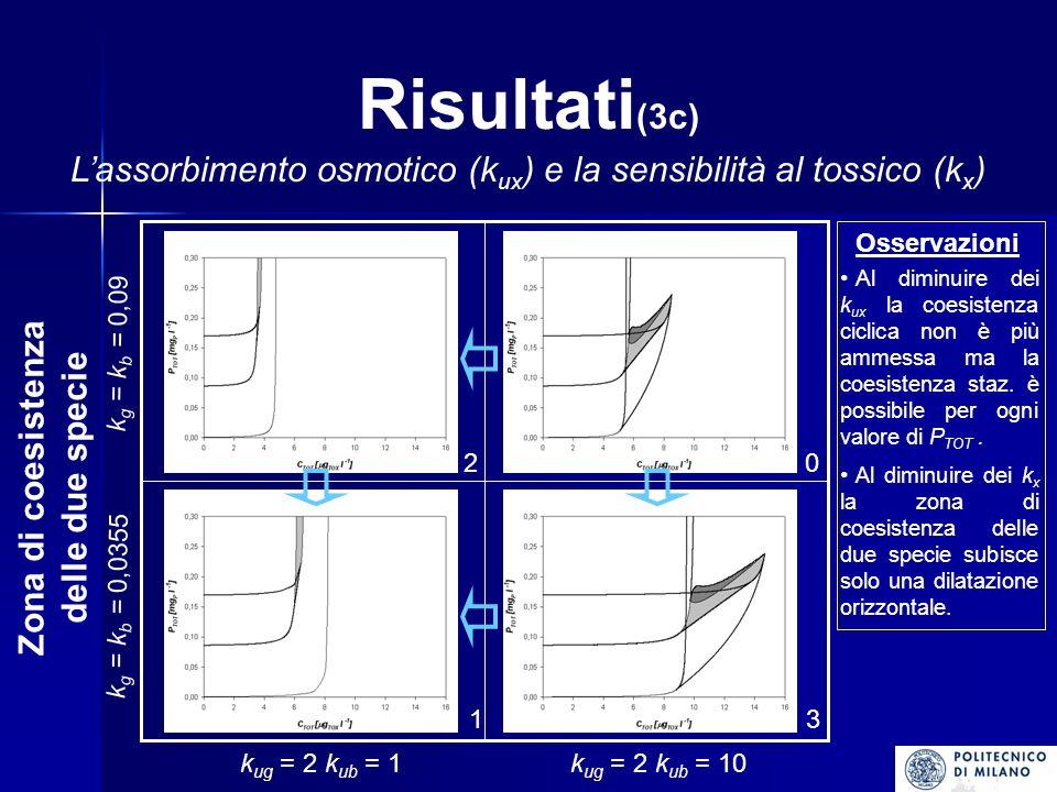 Risultati (3c) Lassorbimento osmotico (k ux ) e la sensibilità al tossico (k x ) k ug = 2 k ub = 1k ug = 2 k ub = 10 k g = k b = 0,0355 k g = k b = 0,09 20 31 Zona di coesistenza delle due specie Osservazioni A l diminuire dei k ux la coesistenza ciclica non è più ammessa ma la coesistenza staz.