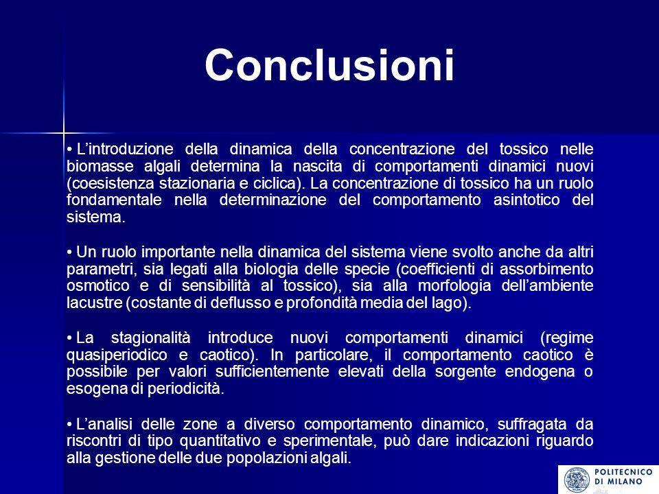 Conclusioni Lintroduzione della dinamica della concentrazione del tossico nelle biomasse algali determina la nascita di comportamenti dinamici nuovi (coesistenza stazionaria e ciclica).
