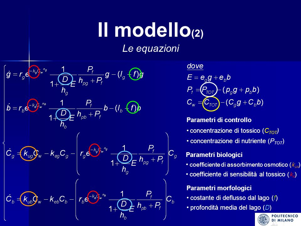 Risultati (5) I parametri morfologici: costante di deflusso (f) e profondità (d) E stato analizzato anche il ruolo di due parametri legati alla morfologia del corpo idrico: la costante di deflusso (f ); la profondità media (d ).