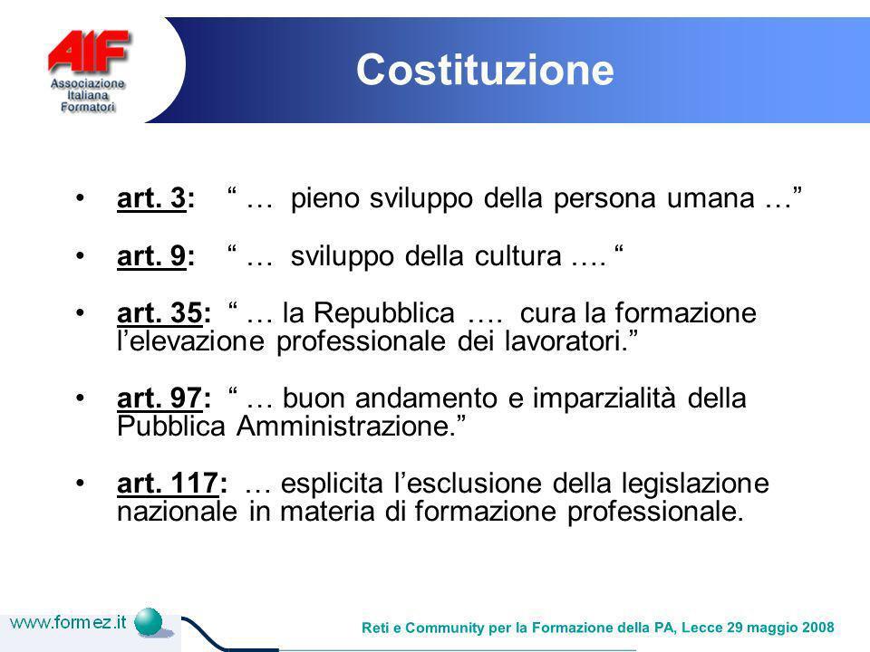 Reti e Community per la Formazione della PA, Lecce 29 maggio 2008 Legge 16 gennaio 2003, n.