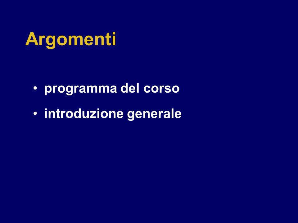 Argomenti programma del corso introduzione generale