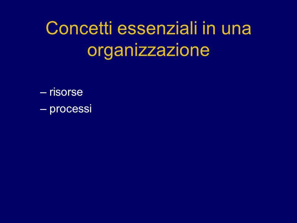 Concetti essenziali in una organizzazione –risorse –processi
