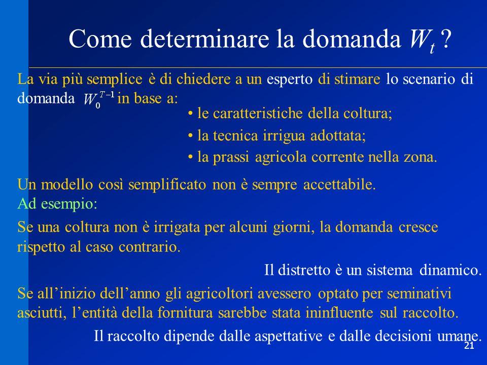 21 Come determinare la domanda W t ? le caratteristiche della coltura; la tecnica irrigua adottata; la prassi agricola corrente nella zona. Un modello