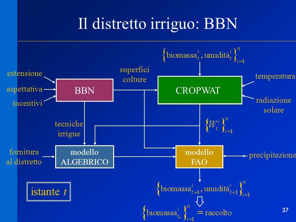 37 rete causaleBBN Il distretto irriguo: BBN DistribuzioneCrescita Evapotraspirazione potenziale estensione aspettativa superfici colture tecniche irr